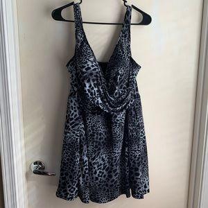 Leopard Print Swim Dress 3X